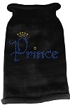 Prince Rhinestone Knit Pet Sweater MD Black